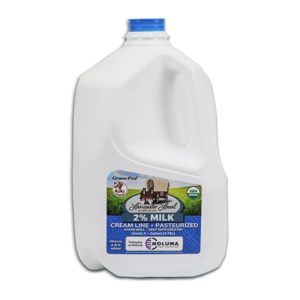 One Gallon Organic 2% Pasteurized Creamline Cow Milk