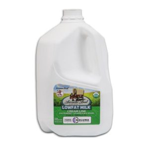 One Gallon Organic Low Fat Non-Homogenized Cow Milk