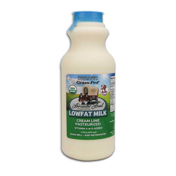 One Pint Organic Low Fat Non-Homogenized Cow Milk