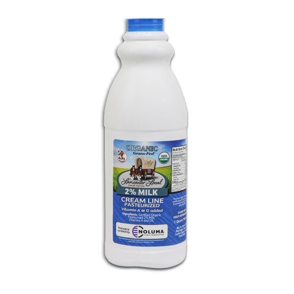 One Quart Organic 2% Pasteurized Creamline Cow Milk
